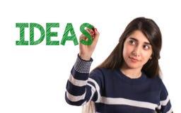 Het meisje van de tieneruniversiteit schrijft ideeën op het transparante scherm royalty-vrije stock fotografie