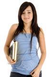 Het meisje van de universiteit het stellen met boeken Royalty-vrije Stock Afbeelding