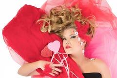 Het meisje van de valentijnskaart Stock Fotografie
