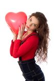 Het meisje van de valentijnskaart Stock Foto