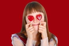 Het meisje van de valentijnskaartendag Stock Fotografie