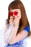 Het meisje van de valentijnskaartendag Stock Afbeeldingen