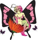 Het meisje van de vlinder Stock Fotografie