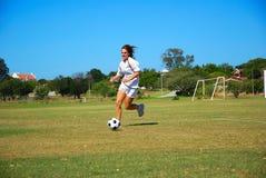 Het meisje van de voetbal royalty-vrije stock fotografie