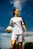 Het meisje van de voetbal Royalty-vrije Stock Afbeeldingen