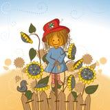Het meisje van de vogelverschrikker met zonnebloemen Royalty-vrije Stock Fotografie
