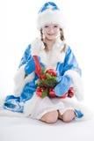 Het Meisje van de winter dat op witte achtergrond wordt geïsoleerdl Royalty-vrije Stock Afbeeldingen