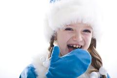 Het Meisje van de winter dat op witte achtergrond wordt geïsoleerdl Royalty-vrije Stock Afbeelding