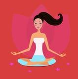 Het meisje van de yoga in lotusbloempositie die op rood wordt geïsoleerde Royalty-vrije Stock Afbeeldingen