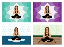 Het meisje van de yogalotusbloem Stock Foto's