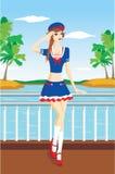 Het meisje van de zeeman Royalty-vrije Stock Fotografie