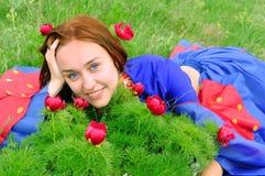 Het meisje van de zigeuner in blauw Stock Fotografie