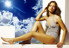 Het meisje van de zomer Stock Foto