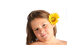 Het meisje van de zonnebloem Royalty-vrije Stock Afbeeldingen