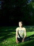 Het meisje van de zonsondergang Stock Foto's