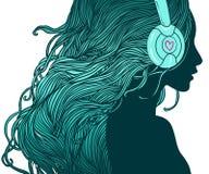 Het meisje van DJ royalty-vrije illustratie