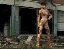 Het meisje van Flowerpower voor een ruïne Royalty-vrije Stock Fotografie