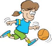 Het meisje van het basketbal Stock Afbeeldingen