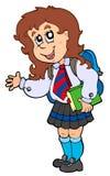 Het meisje van het beeldverhaal in eenvormige school Stock Foto