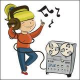 Het meisje van het beeldverhaal luistert muziek en het dansing Stock Afbeelding