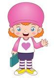 Het meisje van het beeldverhaal terug naar school Stock Afbeelding