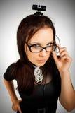 Het meisje van het bureau met Web-camera Royalty-vrije Stock Afbeelding