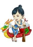 Het meisje van het de bootfestival van de draak vector illustratie