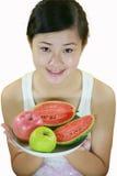 Het meisje van het fruit royalty-vrije stock afbeelding