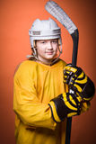 Het meisje van het hockey stock afbeeldingen