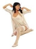 Het meisje van het kielzog in pyjama's Stock Fotografie