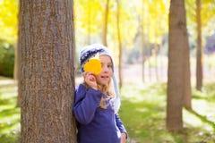 Het meisje van het kind in bos gele de dalingsbladeren van de de herfstpopulier ter beschikking Royalty-vrije Stock Afbeeldingen