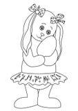 Het meisje van het konijn met Paasei, contouren Stock Afbeeldingen