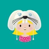 Het meisje van het konijnmasker Stock Afbeeldingen