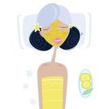 Het meisje van het kuuroord met gezichtsmasker Royalty-vrije Stock Foto's