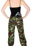 Het meisje van het leger met een kanon stock afbeeldingen