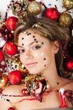 Het meisje van het nieuwjaar Royalty-vrije Stock Afbeeldingen