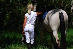 Het meisje van het paard Stock Foto's