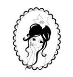 Het meisje van het portret in een frame royalty-vrije illustratie