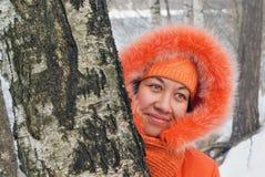 Het meisje van het portret in sinaasappel Royalty-vrije Stock Afbeelding