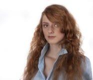 Het meisje van het portretroodharige Stock Afbeelding