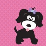 Het meisje van het puppy met koele achtergrond Royalty-vrije Stock Afbeelding
