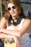 Het Meisje van het skateboard Stock Afbeeldingen
