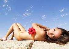 Het meisje van het strand Stock Foto's