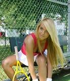 Het meisje van het tennis stock afbeelding