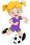Het meisje van het voetbal Stock Foto