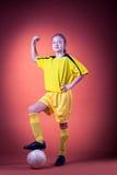 Het meisje van het voetbal royalty-vrije stock fotografie