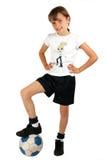Het meisje van het voetbal Stock Fotografie