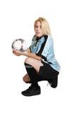 Het meisje van het voetbal met bal. royalty-vrije stock afbeeldingen