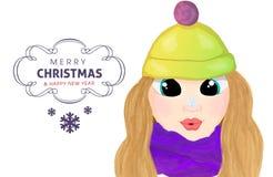 Het meisje van het Wintebeeldverhaal met snowlake op haar neus Stock Afbeeldingen