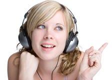 Het Meisje van hoofdtelefoons Stock Foto